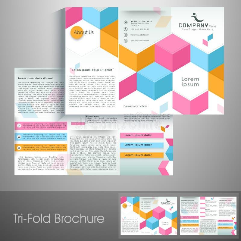 Folheto, molde e inseto dobráveis em três partes à moda para o setor incorporado ilustração royalty free