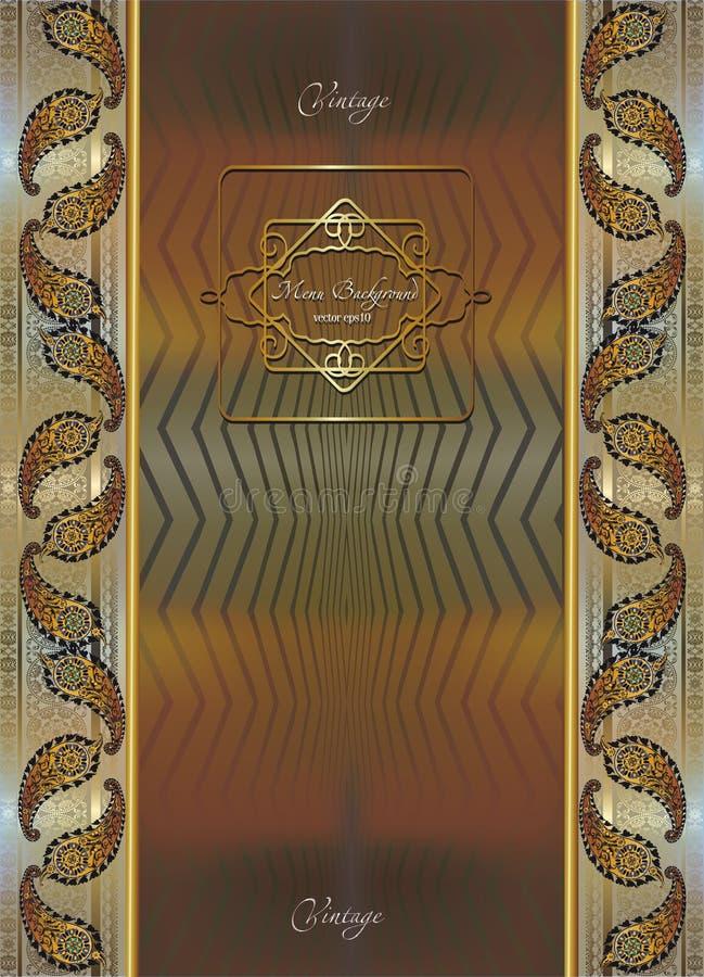 Folheto no estilo colonial, quadro dourado filigrana ilustração royalty free