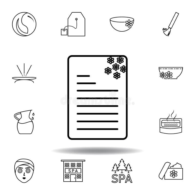 Folheto, noticeboard, ?cone do esbo?o da flor Grupo detalhado de termas e para relaxar o ícone das ilustrações Pode ser usado par ilustração stock