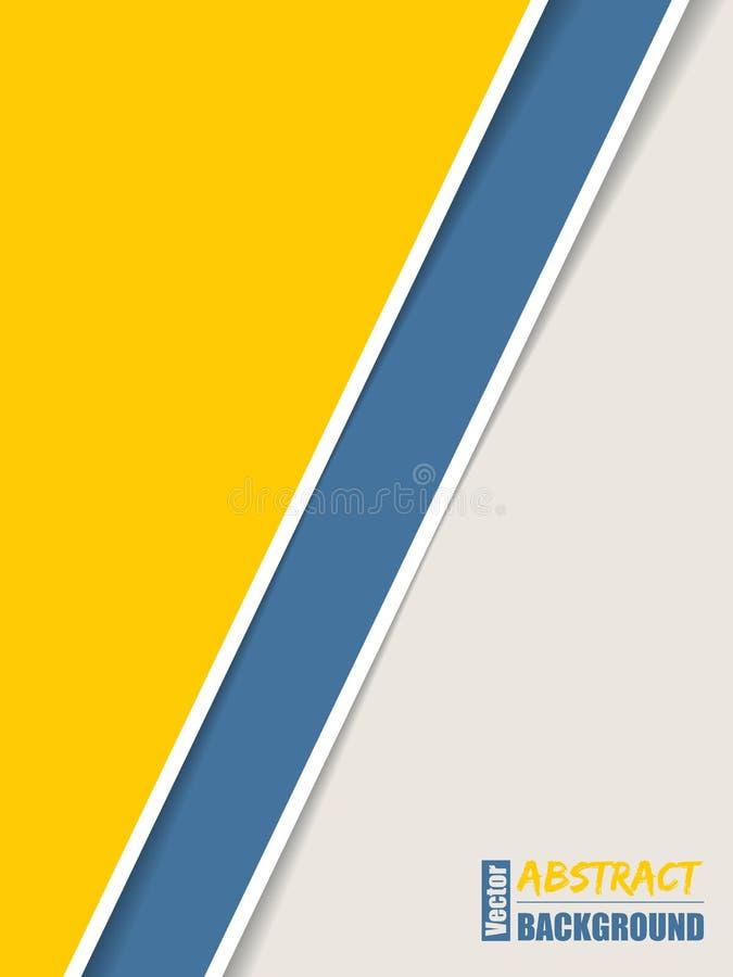 Folheto simples com as listras azuis e brancas amarelas ilustração do vetor