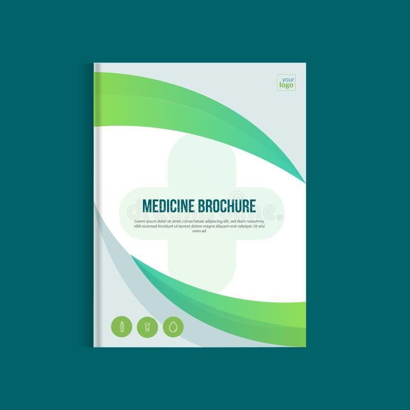 Folheto verde da medicina para anunciar com ícones do esboço Conceito da disposição da saúde ilustração royalty free