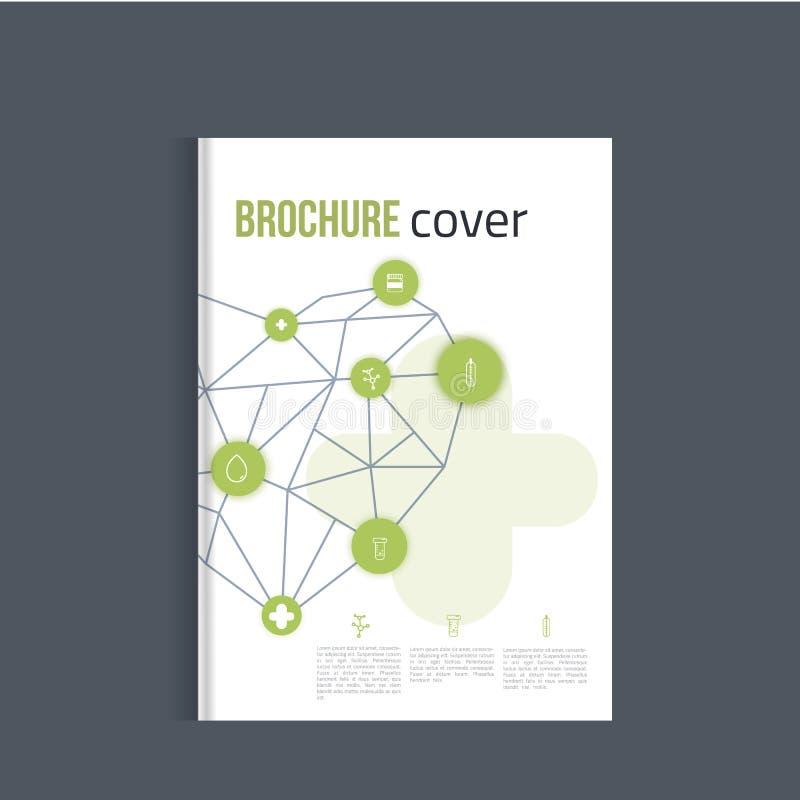 Folheto verde da medicina para anunciar com ícones e coração do esboço Conceito da disposição da saúde ilustração royalty free