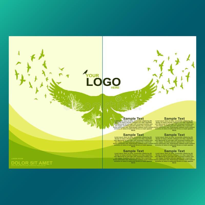 Folheto verde do eco, inseto, capa de revista, molde do cartaz Folha moderna do vetor, projeto do ambiente ilustração stock