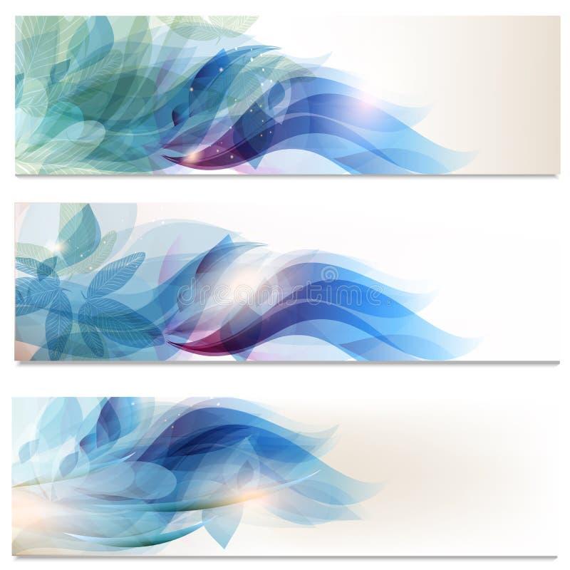 Folhetos abstratos ajustados no estilo floral ilustração royalty free