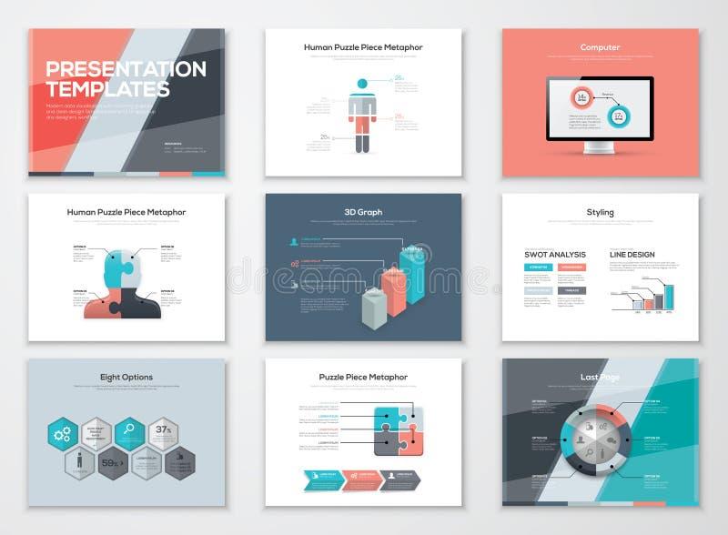 Folhetos da apresentação do negócio e elementos infographic do vetor ilustração stock
