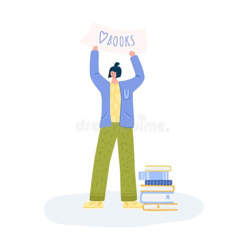 Folhetos de literatura fãs de pessoas com livros ilustração do vetor