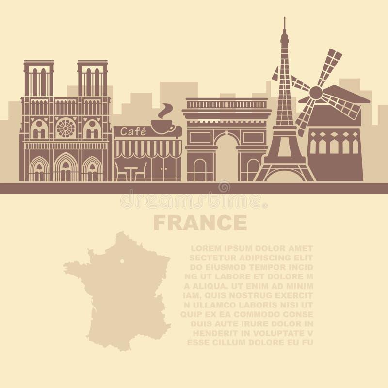 Folhetos do molde com um mapa de França e os marcos arquitetónicos de Paris ilustração royalty free