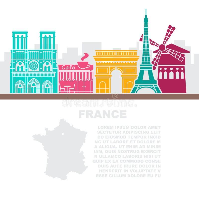 Folhetos do molde com um mapa de França e os marcos arquitetónicos de Paris ilustração stock