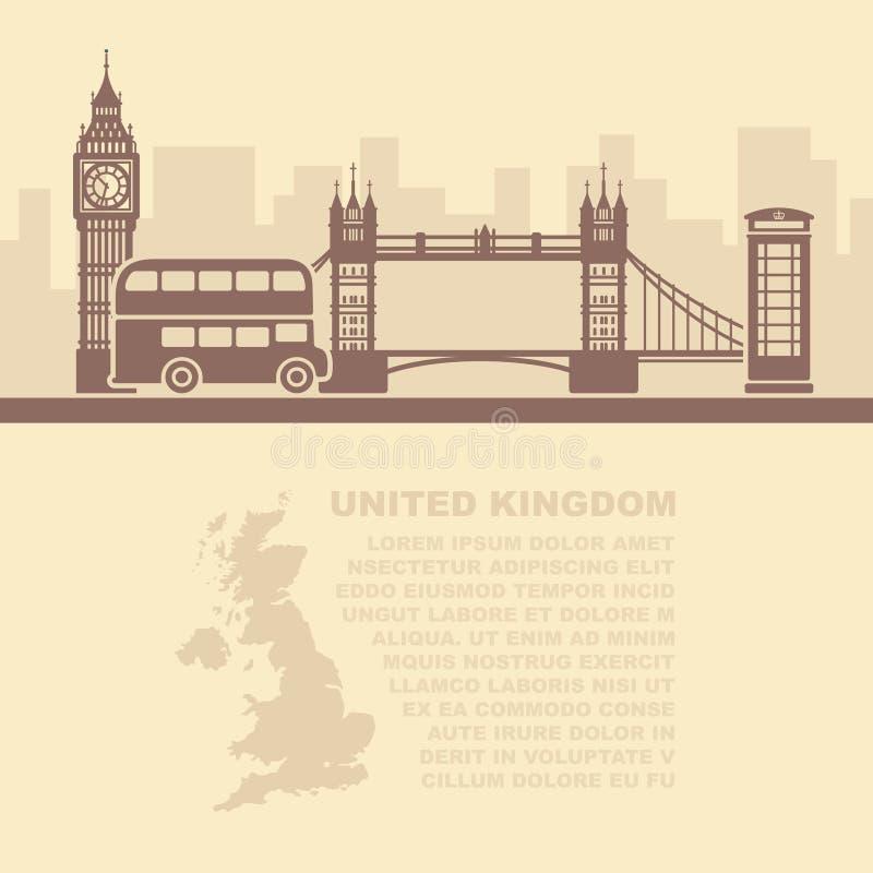 Folhetos do molde com um mapa de Grâ Bretanha e os marcos de Londres ilustração stock