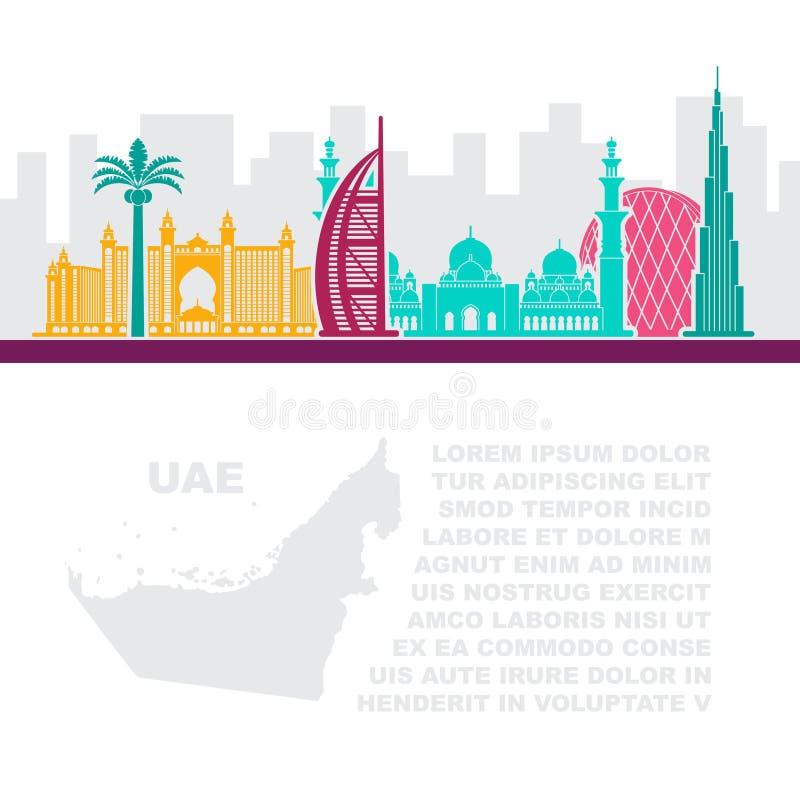 Folhetos do molde com um mapa dos UAE e das atrações de Dubai ilustração do vetor