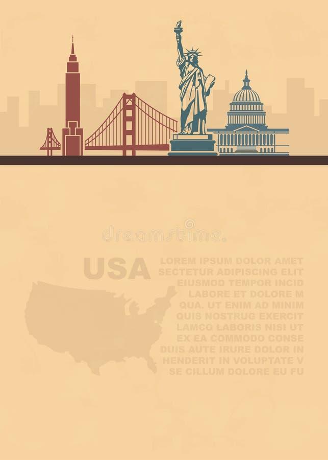 Folhetos do molde com um mapa e uns marcos arquitetónicos dos EUA e do lugar para o texto no papel velho ilustração do vetor