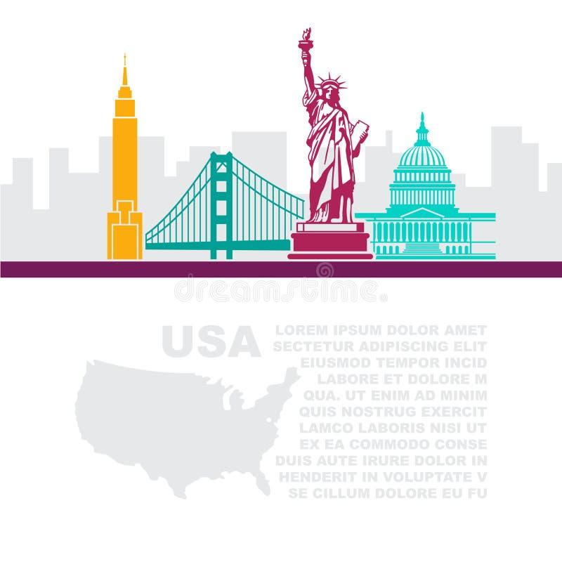 Folhetos do molde com um mapa e uns marcos arquitetónicos dos EUA e do lugar para o texto ilustração royalty free