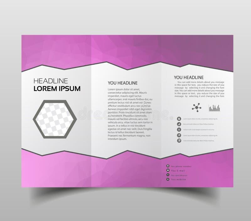 Folhetos dobráveis em três partes, moldes quadrados do projeto Construção molecular com projeto do polgonal, teste padrão científ ilustração do vetor