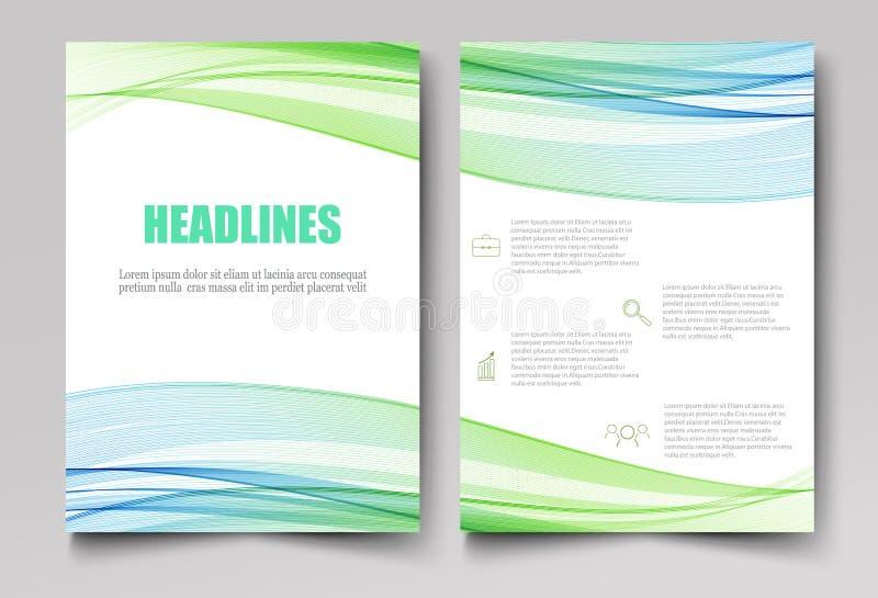 Folhetos incorporados do projeto do molde, insetos, brochuras, informe anual Onda transparente abstrata azul esverdeado ilustração do vetor