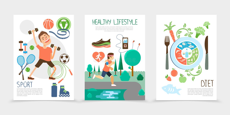 Folhetos saudáveis lisos do estilo de vida ilustração royalty free