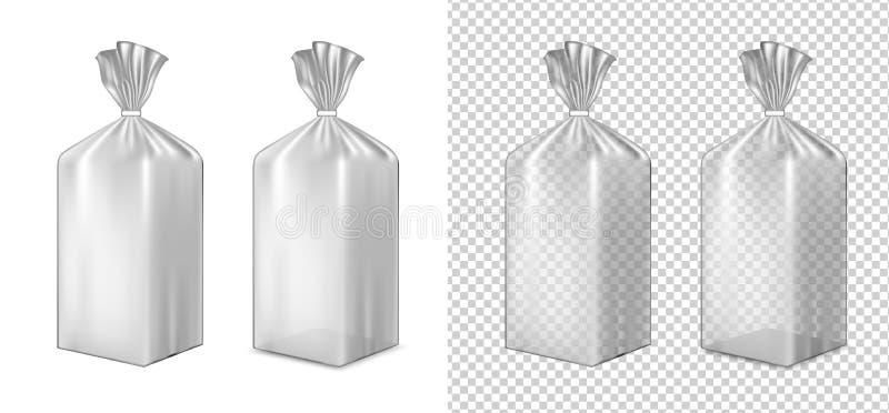 Folia lub papierowy pakować Saszetka dla chleba, kawa, cukierki, cooki ilustracji