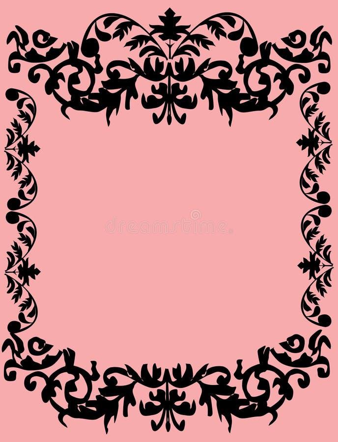Foliage black frame on pink vector illustration