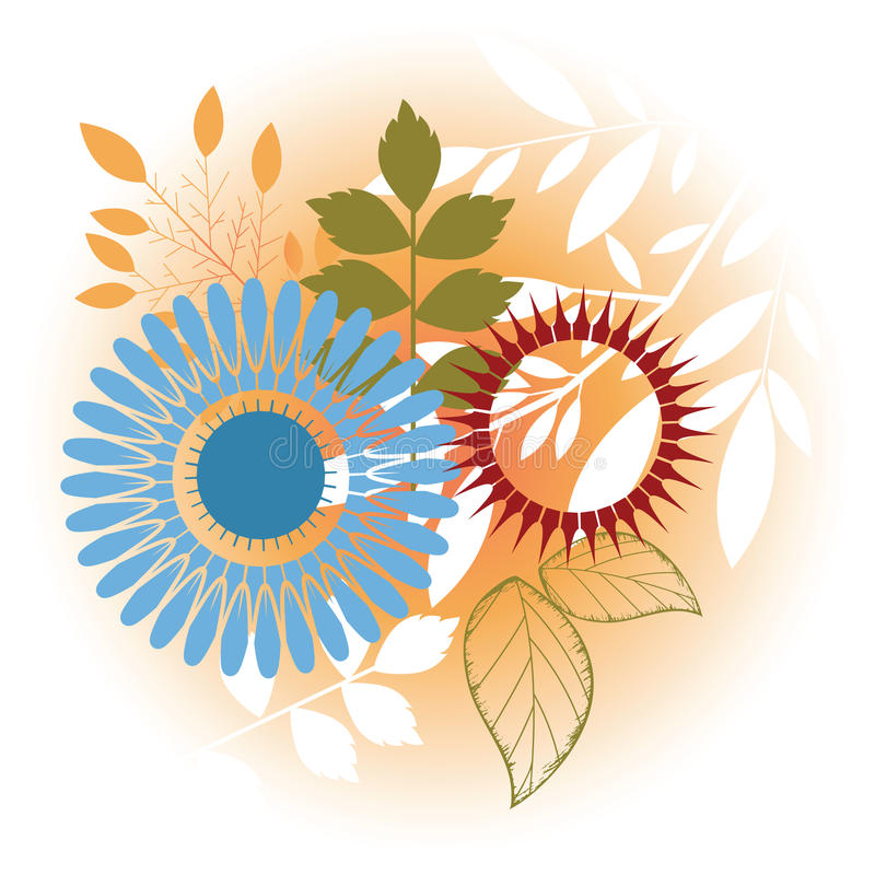 Foliage Elements. Including leaves flowers and stems vector illustration