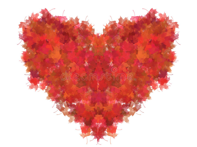 foliage heart isolated red διανυσματική απεικόνιση