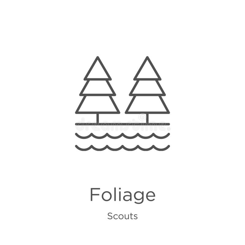Foliage icon vector from scouts collection. Thin line foliage outline icon vector illustration. Outline, thin line foliage icon. Foliage icon. Element of scouts royalty free illustration
