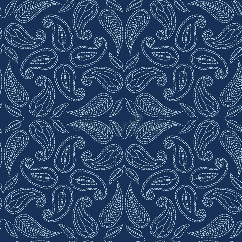 Foliage leaf damask motif sashiko style. Japanese needlework seamless vector pattern. Hand stitch indigo blue lace textile print. stock illustration