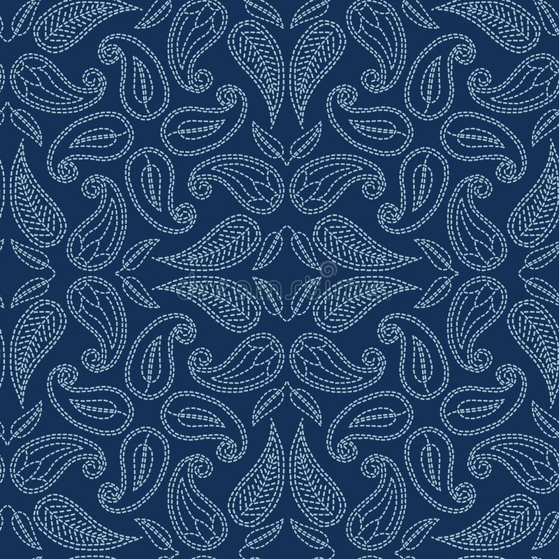 Foliage leaf damask motif sashiko style. Japanese needlework seamless vector pattern. Hand stitch indigo blue lace vector illustration