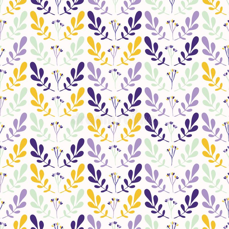 Foliage Leaf Stem Vector Pattern Yellow And Purple stock illustration