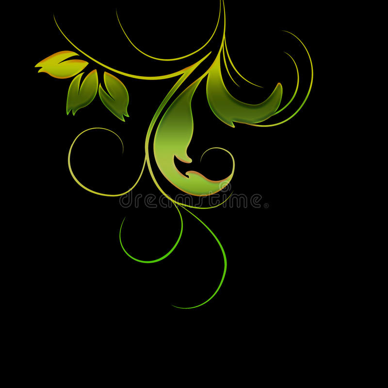 Foliage swirl vector. Foliage swirl with various colouring isolated on black background in vector format stock illustration