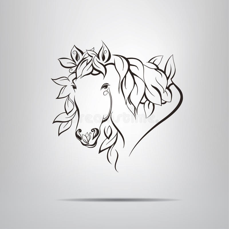 Download Foliate Silhouette Of The Head Horse Stock Vector - Image: 37677110