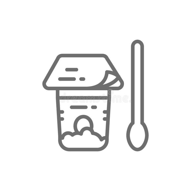 Folielockpacke för yoghurten, keso i krus med skeden, linje symbol för plast- behållare royaltyfri illustrationer