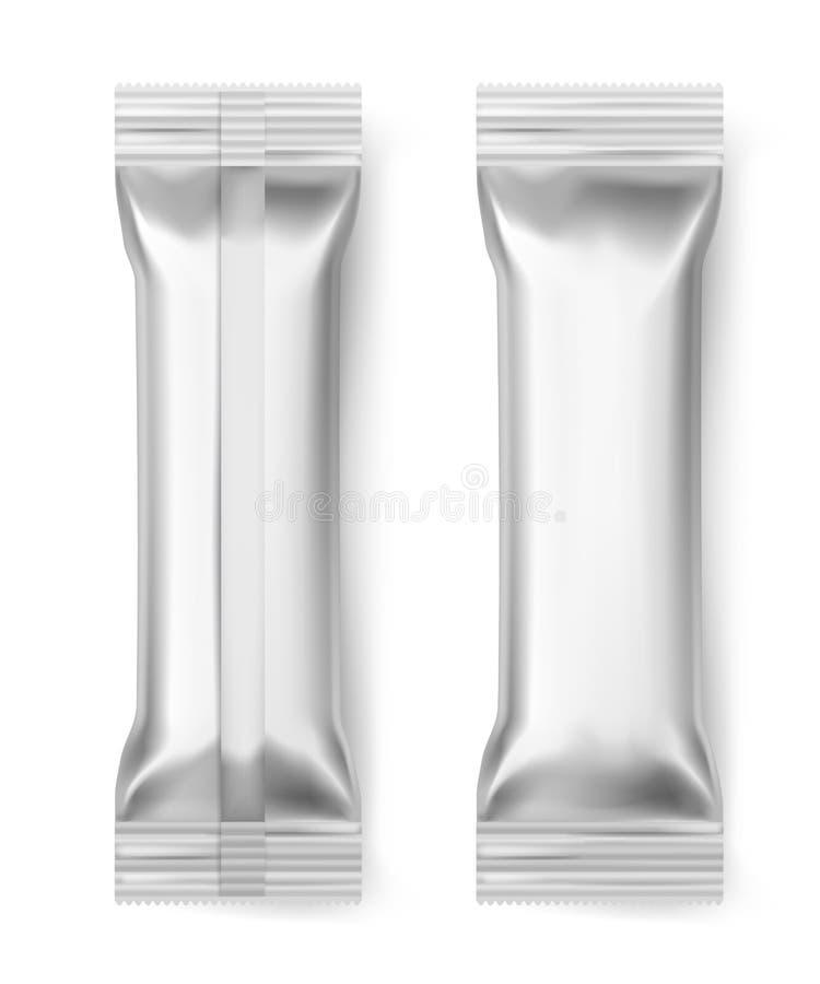 Foliestångpinnar Mellanrumsaluminium förseglade packen för mat för efterrätten för mellanmålet för godisen för packeomslagchoklad royaltyfri illustrationer