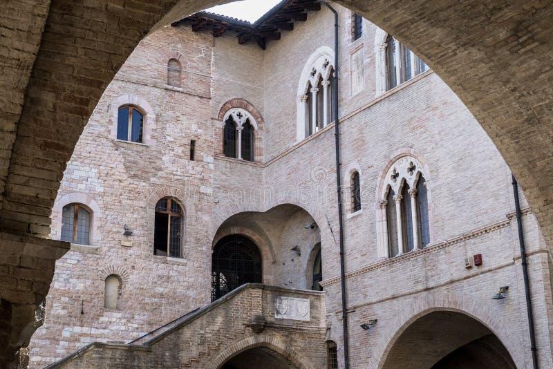 Foligno Perugia, Italy. Historic building of Foligno, Perugia, Umbria, Italy: Palazzo Trinci royalty free stock photo
