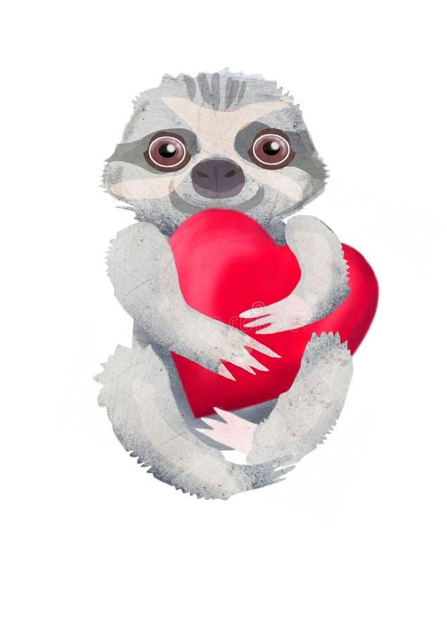 Folivora animal se reposant Trois-botté avec la pointe du pied de paresse avec le coeur rouge illustration libre de droits
