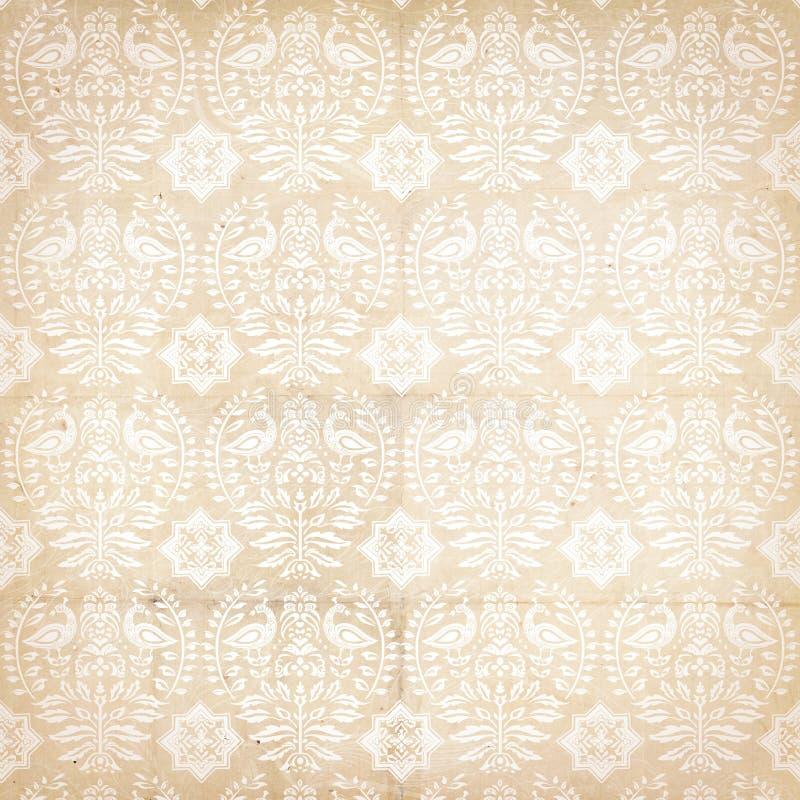 Free Folk Antique Vintage Damask Pattern With Bird Royalty Free Stock Image - 22953436