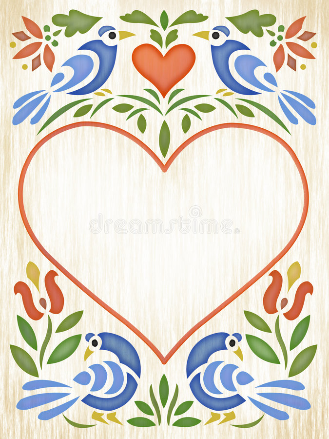 Folk Art Heart vector illustration
