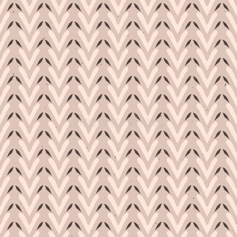 Folk Art Heart Weave Stripes Texture Seamless Vector Pattern. Winter White Boho Background Illustration royalty free illustration