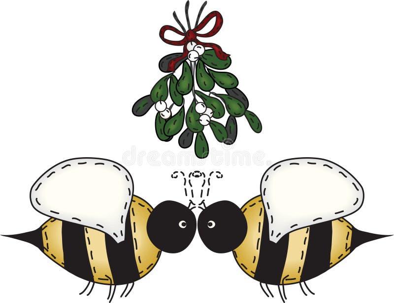 Folk Art Kissing Bees. Merry Christmas kissing bees under mistletoe stock illustration
