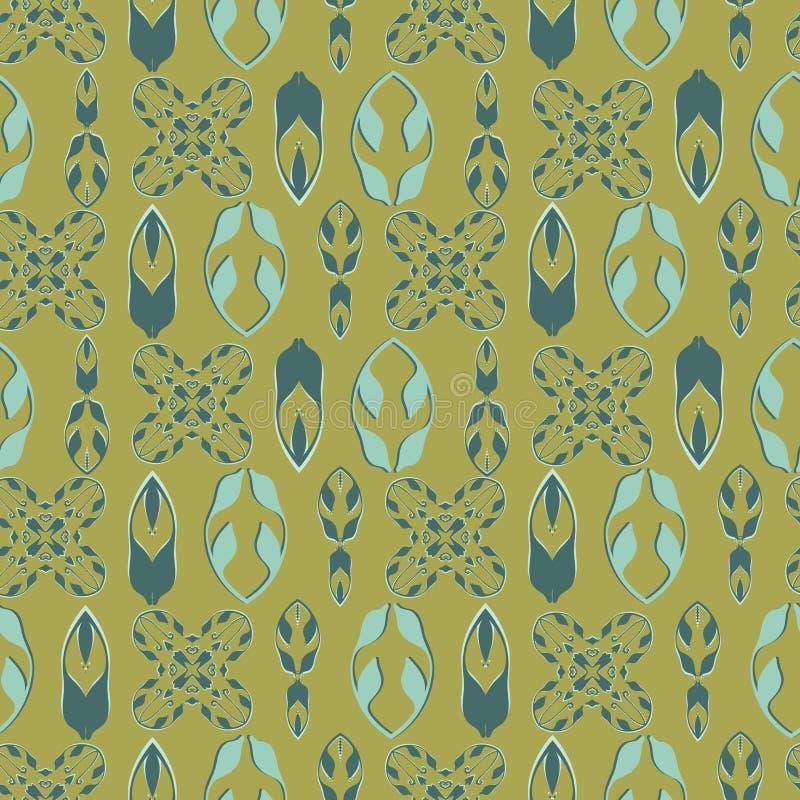 Folk Art Ornamental Seamless Vector Pattern, utdragen illustration för hand för säsongsbetonade modetryck royaltyfri illustrationer