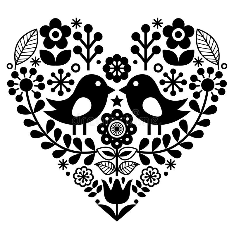 Folk art pattern with birds and flowers - Finnish inspired, Valentine`s Day stock illustration