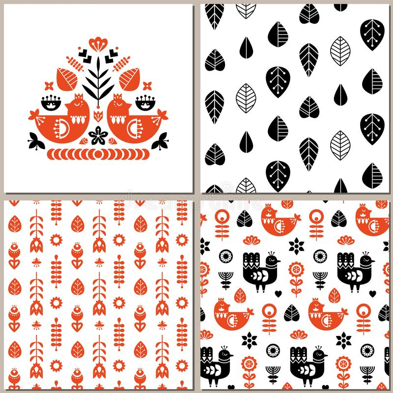 Folk art pattern collection with seamless and single pattern. Monochrome retro floral pattern. royalty free illustration