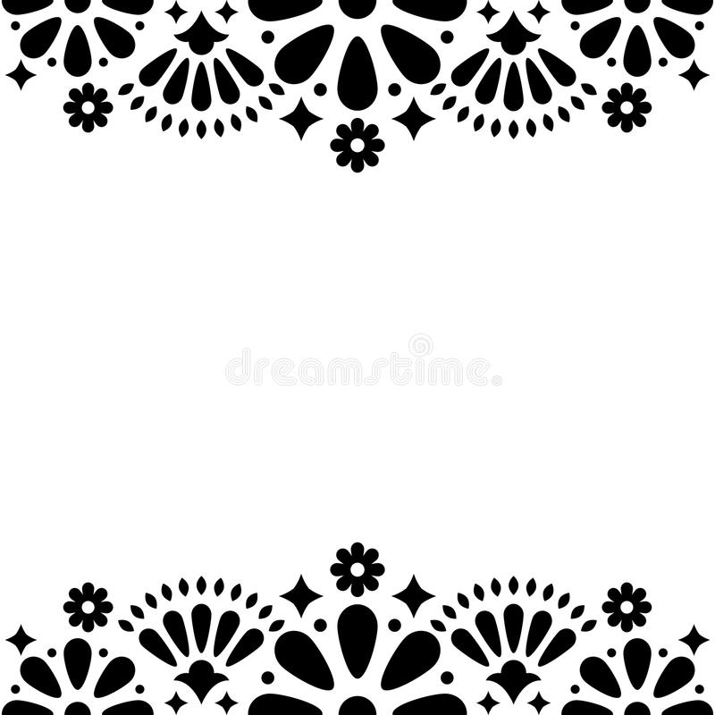 Mexican Folk Wedding Or Party Invitation, Floral Happy Greeting Card ...