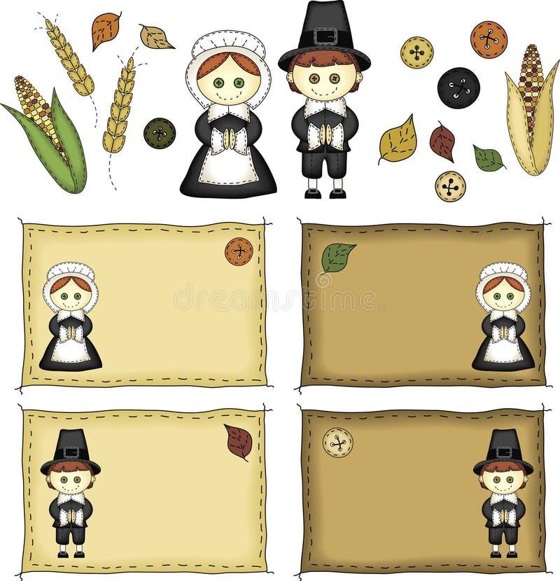 Folk Art Pilgrims and Thanksgiving Icons royalty free illustration