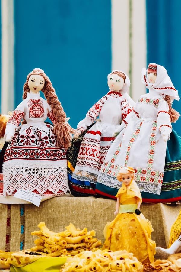 Folk art rag doll souvenir from Belarus. Souvenir dolls from Belarus. Folk art of cloth and dress in national Belarus stock photo