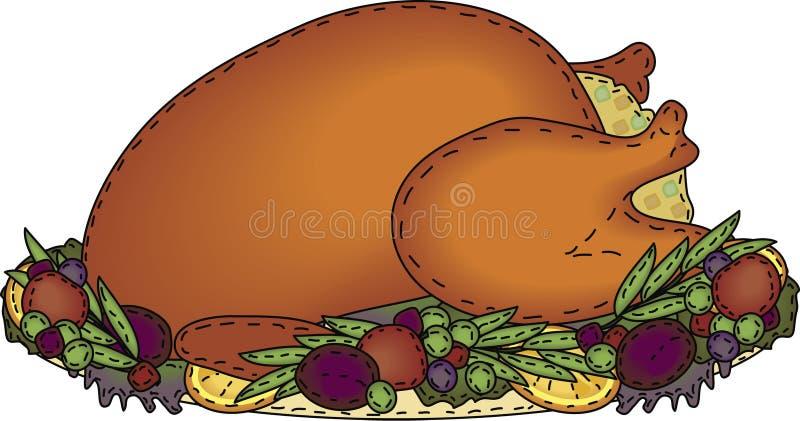 Folk Art Roasted Turkey with Stuffing