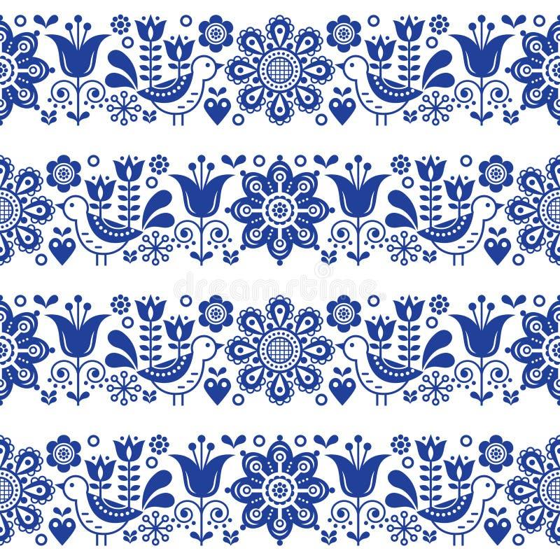 Folk art seamless vector floral pattern, Scandinavian navy blue repetitive design, Nordic ornament stock illustration