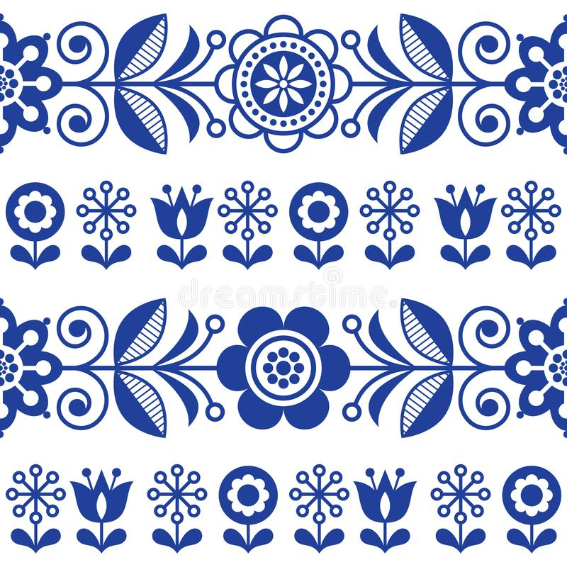 Folk art seamless vector pattern with flowers, navy blue floral repetitive design - Scandinavian style stock illustration