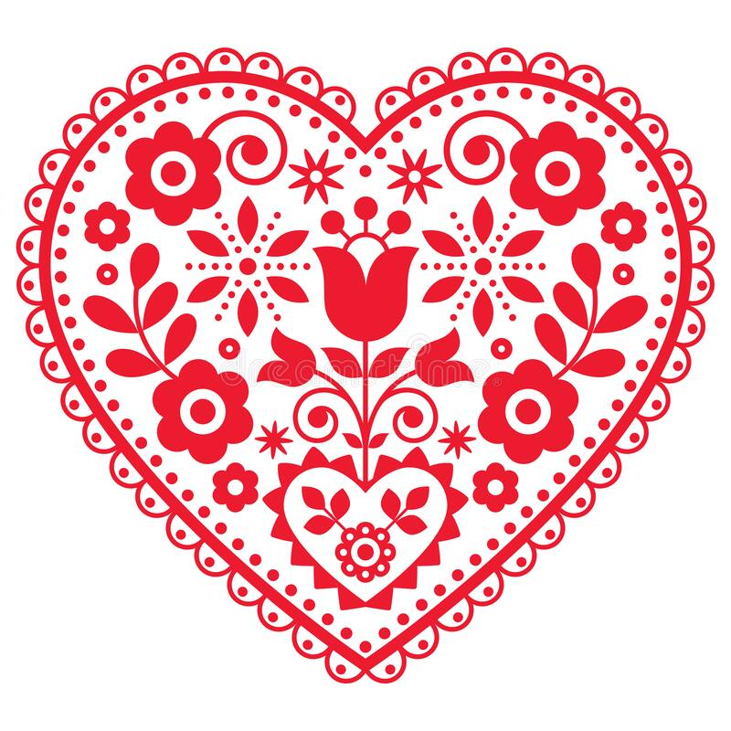Free Folk Art Vector Heart Design With Flowers Perfect For Valentine`s Day Greeting Card Or Wedding Invitation - Polish Pattern Royalty Free Stock Image - 206737466