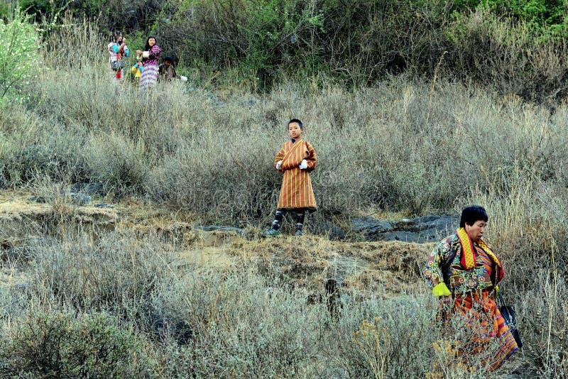Folk av Bhutan royaltyfria foton