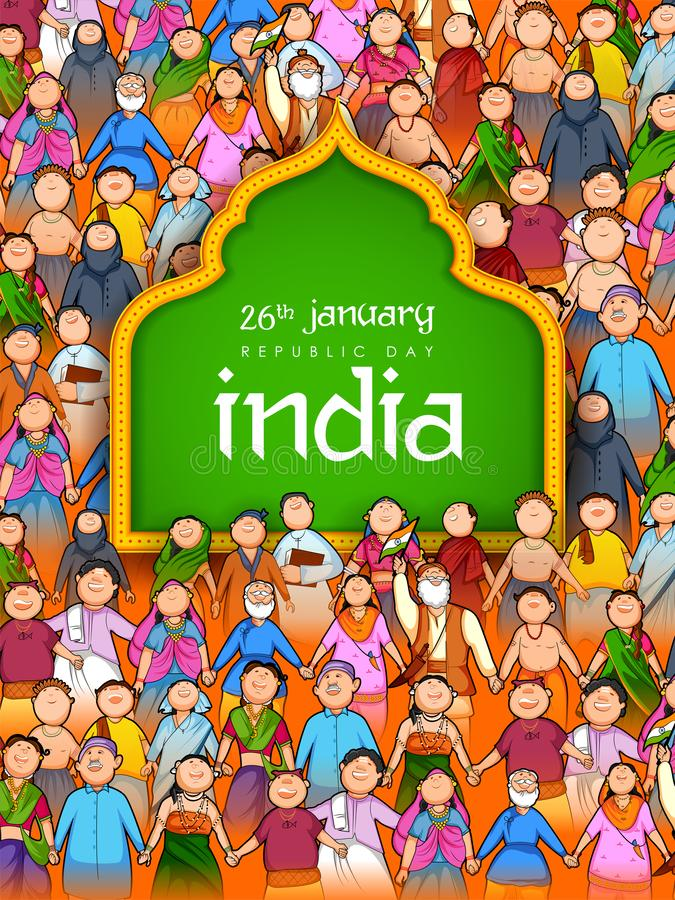 Folk av den olika religionen som visar enhet i mångfald på lycklig republikdag av Indien vektor illustrationer