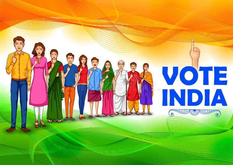Folk av den olika religionen som visar rösta fingret för riksdagsval av Indien vektor illustrationer